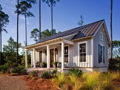 Tiny Farmhouse Cottage HGTV presents a low-country cottage designed to exude farmhouse charm through board-and-batten siding, simple landscaping and bucolic decor.