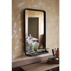 For the guest bath?  Raw Metal Framed Mirror With Shelf Rectangle Mirrors Home Decor