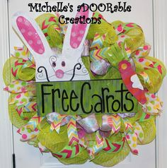 Easter Bunny Deco Mesh Wreath  Free Carrots by MaDoorableCreations, $100.00