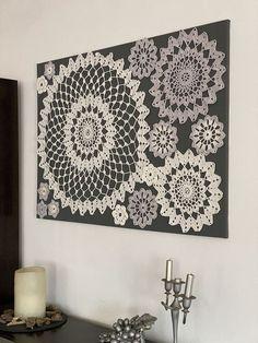 Crochet Wall Art, Crochet Wall Hangings, Crochet Home, Framed Doilies, Lace Doilies, Crochet Doilies, Home Crafts, Crafts To Make, Crochet Projects