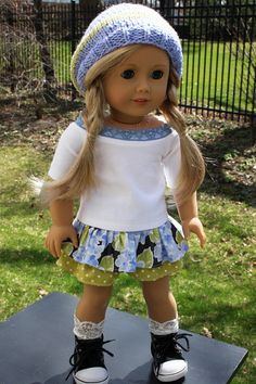 American Girl Doll Clothes - Knit Top with Blue Lace, Ruffled Skirt, Handknit Hat, 18 inch doll clothes, AG clothes, blue knit hat