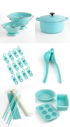 Beautiful kitchen decor ideas for a Tiffany Blue-colored kitchen. Updated with new decorating ideas, Tiffany Blue appliances, kitchen gadgets, etc all the time. Tiffany Blue Kitchen, Blue Kitchen Decor, Blue Kitchen Accessories, Pastel Kitchen, Vintage Kitchen, Kitchen Utensils, Kitchen Gadgets, Kitchen Appliances, Cooking Utensils