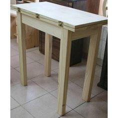 Set de mesa auxiliar con 2 taburetes en madera de pino – crema y ...