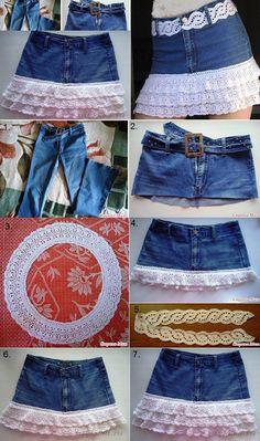 DIY Stylish Denim Skirt From Old Jeans.  Instructions--> http://wonderfuldiy.com/wonderful-diy-stylish-denim-skirt-from-old-jeans/