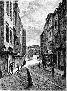"Butcher's Row, Fleet St, 1800 in Walter Thornbury's ""A Walk In Long Forgotten London"" via Spitalfields Life Victorian Street, Victorian London, Vintage London, Victorian Era, London 1800, Old London, London England, London Architecture, Victorian Architecture"