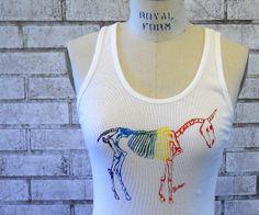 Ladies Rainbow Unicorn Skeleton  cotton rib tank by CausticThreads, $20.00