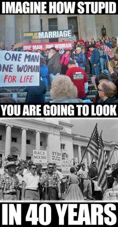 black and white segregation in the 50's/60's = homophobia today.