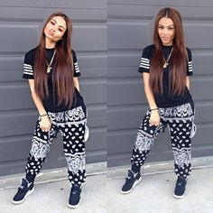 Bandanna Print Pants. Harem Pants. Sporty TShirt. Urban Outfit. Hip Hop Fashion. Hip Hop Outfit. Swag. Dope. India Westbrooks
