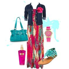 Colorful Maxi + jean jacket...except the sandals, would wear wedge heels instead