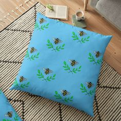 'Honey bee' Floor Pillow by pixelpixelpixel Floor Pillows, Throw Pillows, Buy Honey, Save The Bees, Cushions, It Is Finished, Printed, Awesome, Shop