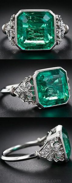5.31 Carat Emerald and Edwardian Diamond Ring, A big, bright and lively square emerald-cut emerald, weighing 5.31 carats, is the star attraction of this sublime and stunning late-Edwardian/early-Art Deco bauble, finely crafted in platinum, circa 1920. The impressive emerald possesses a crystalline brilliance which glistens and glows under all types of lighting (i.e. day or night). A true vintage beauty.