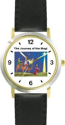 The Journey of the Magi (Three Wise Men) - Christian Theme - WATCHBUDDY® DELUXE TWO-TONE THEME WATCH - Arabic Numbers - Black Leather Strap-Children's Size-Small ( Boy's Size & Girl's Size ) WatchBuddy. $49.95