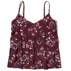 Hollister Must-Have Easy Woven Cami ($6.47) ❤ liked on Polyvore featuring intimates, camis, burgundy floral, floral camisole, v neck cami, floral cami and v-neck camisoles