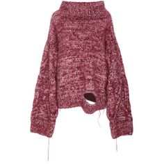Tuinch     Distressed Mock neck Sweater (6 300 520 LBP) ❤ liked on Polyvore featuring tops, sweaters, pink, pink top, mock neck sweater, torn sweater, ripped sweater and drop shoulder sweater