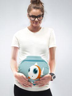 Funny Fish Bowl Maternity Shirt Mamagama by Mamagamaworld on Etsy