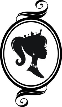 """Cameo Princess Silhouette"" a Vinyl Wall Decal Graphic by VinylDesignsByCJ, via Etsy. Silhouette Vinyl, Silhouette Portrait, Silhouette Cameo Projects, Silhouette Cameo Shirt, Girl Silhouette, Disney Poster, Princess Silhouette, Barbie Party, Silhouettes"
