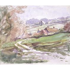 Landscape near Sidmouth, with cottages surrounded by fields and woods (drawing)