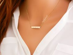 $38 | GOLD Bar Necklace, Custom Date Necklace, Wedding date jewelry, Long bar necklace, Bridesmaid Gift, Anniversary Date, Narrow Bar Necklace