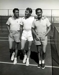 Charles Farrell and birthday boy Ralph Bellamy, the founders of the Palm Springs Racquet Club, with Paul Lukas.