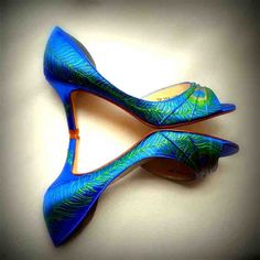 """Wedding Shoes peacock feather painted deep blue Sale Feathered"""" medium heel Esther something blue bridal Shoes Uk, Blue Shoes, Peep Toe Shoes, Shoes Heels, Blue Wedding Shoes, Ruby Wedding, Wedding Bride, Dream Wedding, Purple Peacock"""