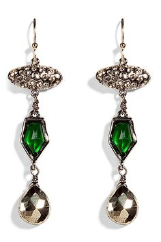 ALEXIS BITTAR  Crystal encrusted Imitate emerald earrings