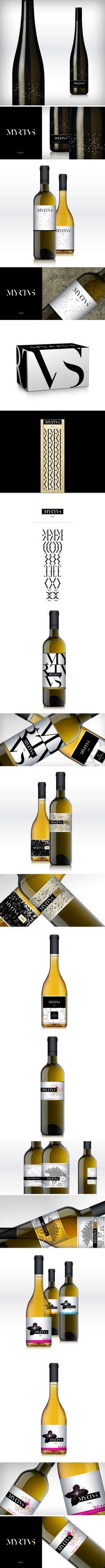 """Myrtus winery by KissZsombor - Identity and package design concept for Myrtus winery.    """"Myrtus is a Hungarian winery in the world famous wine region of Tokaj. Myrtus also the name of a Mediterranean plant."""""""