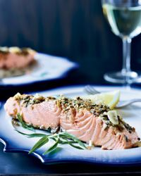 Slow-Roasted Salmon with Tarragon and Citrus from Food & Wine.  This is our main course this Thanksgiving!  Btw: it was amazing!