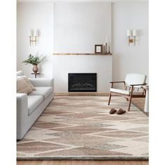 "Rosa Modern Classic Brown Wool Diamond Patterned Rug - 7'9"" x 9'9 "" 8' x 10' 