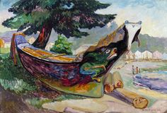 Indian War Canoe, Alert Bay Artwork By Emily Carr Oil Painting & Art Prints On Canvas For Sale Vancouver Art Gallery, Art Gallery Of Ontario, Canadian Painters, Canadian Artists, Emily Carr Paintings, Dulwich Picture Gallery, Kunsthistorisches Museum, Impressionist Paintings, Colors