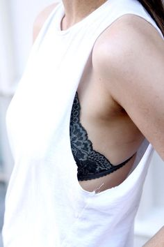 summer layering | black lace bralette under a white muscle tee