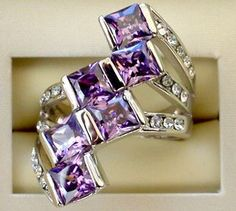 Glamorous  Lab-Amethyst 10K WGF Ring Size . Starting at $5 on Tophatter.com!