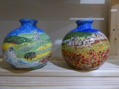 Hand painted ceramics by Pam Smith : Getting ready for the Hythe Mistletoe Fair. Ceramic Pottery, Pottery Art, Hand Painted Ceramics, Ceramic Painting, Mistletoe, Glass Vase, Jar, Decor, Hand Painted Pottery