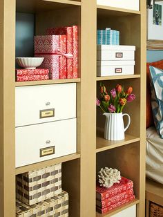 Sneaking in extra storage is always a plus and the master suite can always use a few extra places to store things. Get inspired by this master bedroom, complete with headboard storage, cube and drawer dividers, hidden storage under the bed, floating shelves on the walls, and more! Plus, the closet and bathroom are organized to perfection as well.