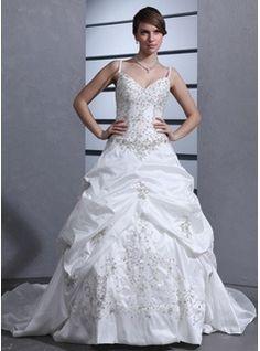 Ball-Gown Sweetheart Chapel Train Taffeta Wedding Dress With Embroidery Ruffle Beadwork Sequins (002012566)