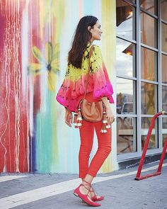 Living in color via at Miami wearing Anna Kosturova silk tie-dye billowy sleeve blouse avail Hobo Chic, Rainbow Brite, Colorful Fashion, Silk Ties, Put On, Color Blocking, Your Photos, Tie Dye, Photoshoot