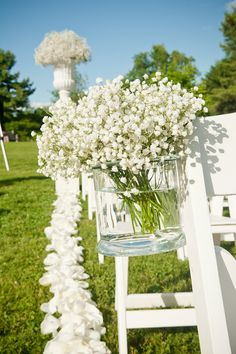 We love our baby;s breath in masses, so pretty Ceremony design by Karla Cassidy Designs www.karlacassidydesigns.com Image courtesy of Justin Munroe Photography www.jmphotography.com