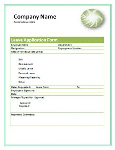 Staff Leave Application Form Format  Leaves Application Form