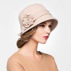 2e6f05d9a37 Women flower bowler bucket hat wool cloche hat winter wear
