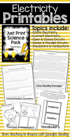 Electricity Passages, Printables and Assessment right at your finger tips! This ready to print and use resource is a great supplement to your science instruction.