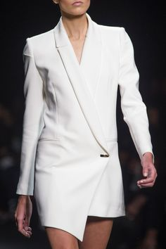 Asymmetrical white blazer, chic runway fashion details // Mario Dice Fall 2015