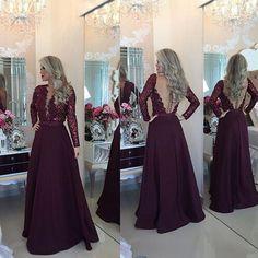 Long sleeve lace Prom Dress, 2016 Long Prom Dress, Sexy Prom Dress, Rhinestone…