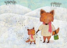 Christmas Foxes Print 8x10 by Megumi Lemons by GoomiesWorld