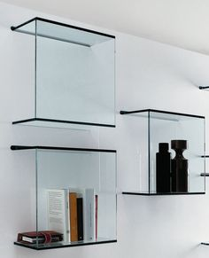 Wall-mounted #glass #bookcase DAZIBAO by @tonellidesign