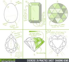 Exercise 26 Practice Sheet: Shading Gems by ConceptCookie on DeviantArt Gem Drawing, Art Kawaii, Jewelry Design Drawing, Doodles, Jewelry Illustration, Jewellery Sketches, Art Tips, Art Tutorials, Drawing Tutorials