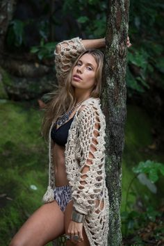 The Hendrix Jacket - Lost Lovers BOHEME Lookbook | crochet jacket | festival style | bohemian | gypsy | forest | silver | native jewellery | long hair |