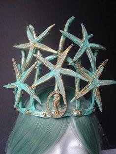 Mermaid headpiece mermaid crown mermaid by MermaidSanctuary Mermaid Headpiece, Mermaid Crown, Seashell Crown, Starfish, Mask Makeup, Third Birthday, Headpieces, Helmets, Octopus