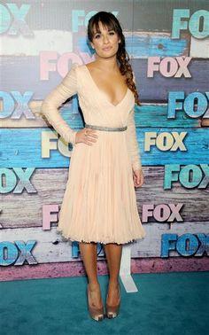 Lea Michelle- side braid, peach dress, nice tan, less cleavage