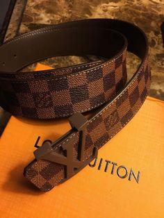 d5fe5aba8eb7 Men s Louis Vuitton LV Damier Ebene Belt Size 95 38 Fits 32-36