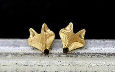Stud Earrings – Hand gilded tiny fox stud earrings – a unique product by VillaSorgenfrei on DaWanda
