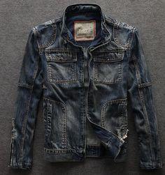 Fashion Vintage Denim Ripped Stand Collar Motorcycle Men Jeans Jacket Biker Coat | eBay